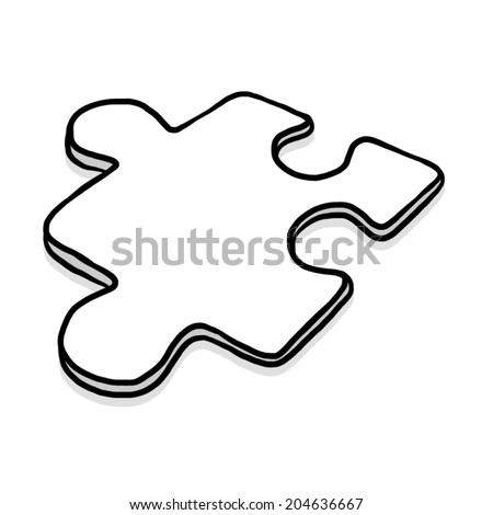 jigsaw piece / cartoon vector and illustration, black and white, hand drawn, sketch style, isolated on white background. - stock vector