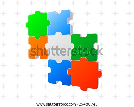 Jigsaw puzzle 3d - stock vector