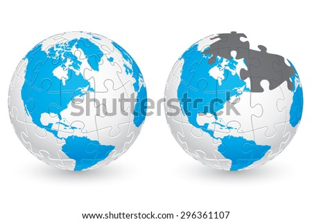 Jigsaw Puzzle Globe with America continents. Main elements are on separate layers. Easy to  change or remove. - stock vector
