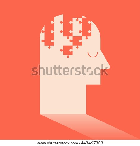 Jigsaw puzzle in brain like Ideas and Imagination. Flat design for business financial marketing banking advertising commercial background minimal vector concept cartoon illustration. - stock vector