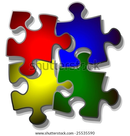 jigsaw puzzle in four colors - stock vector