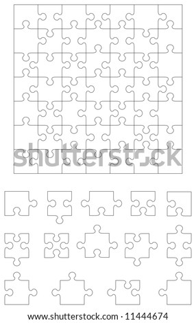 jigsaw puzzle, 49 pieces, and individual puzzle pieces, 14 pieces. Assemble the pieces to make your own size and shape. - stock vector