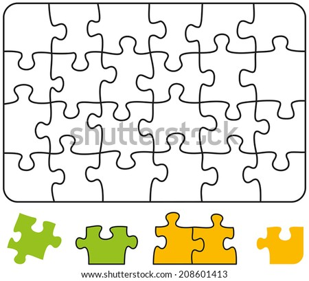 Jigsaw Puzzle Rectangle - Jigsaw puzzle in the form of a rectangle with single pieces which can be individually removed and arranged. Vector illustration on white background. - stock vector