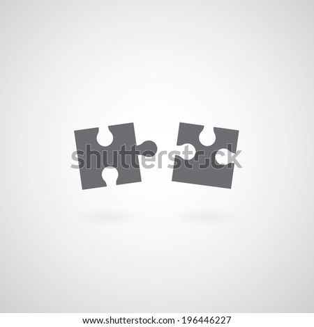 Jigsaw puzzle symbol on gray background  - stock vector