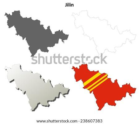 Jilin blank outline map set - stock vector