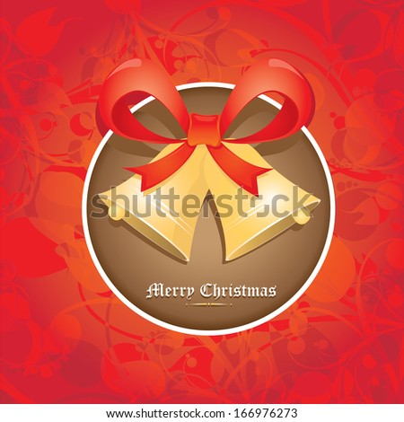 Jingle bells with bow on red floral decorative background. Vector illustration of merry christmas card - stock vector