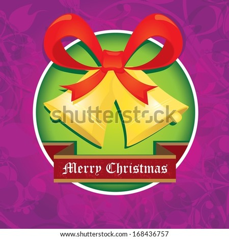 Jingle bells with bow on violet floral decorative background. Vector illustration of merry christmas card - stock vector