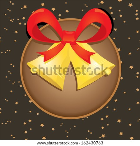 Jingle bells with red bow on stars background. Vector illustration - stock vector