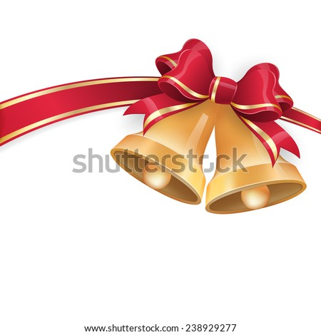 Jingle bells with red ribbon bow on festive background. EPS 10 vector file included - stock vector