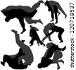 Jiu-Jitsu and Judo wrestlers vector silhouettes on white background. Layered. Fully editable. Can be transformed in completely black silhouettes - stock vector