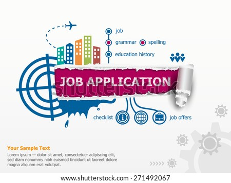 Job application concept and breakthrough paper hole with ragged edges.  - stock vector
