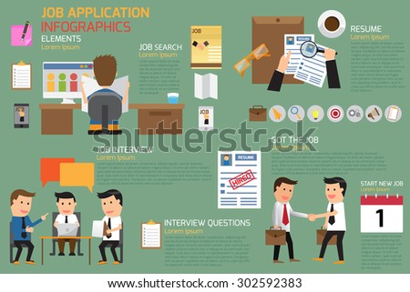 job application infographics element, vector illustration. - stock vector