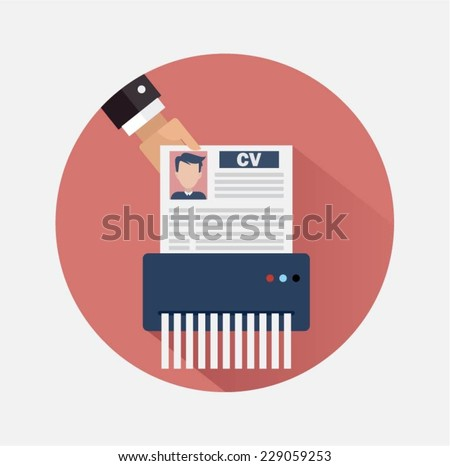 Job candidate elimination - stock vector