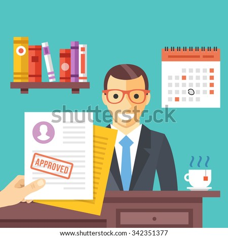 Job interview. Approved job application with stamp on it. Happy man got a job. Modern flat design concept for web banners, web sites, infographic. Flat vector illustration isolated on red background - stock vector
