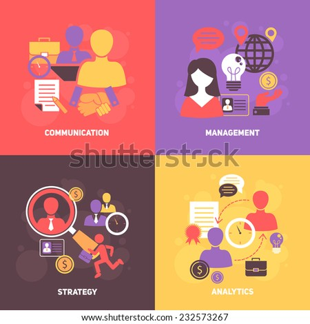 Job interview flat icons set with communication management strategy analytics isolated vector illustration - stock vector