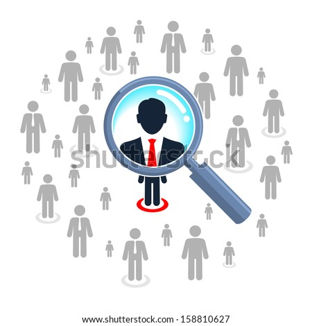Job search and career choice, magnifying glass searching people  - stock vector