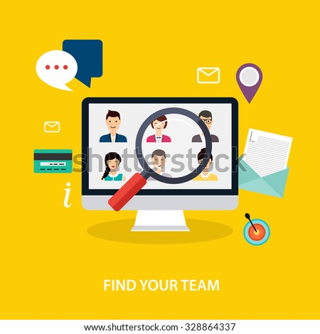 Job search and career. Human resources management and head hunter searching. Social Network and Social Media Concept. Business flat vector illustration. - stock vector