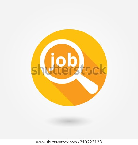 Job search concept. Text with magnifying glass. Flat icon design with long shadow - stock vector