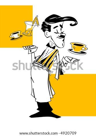 job series -waiter - stock vector