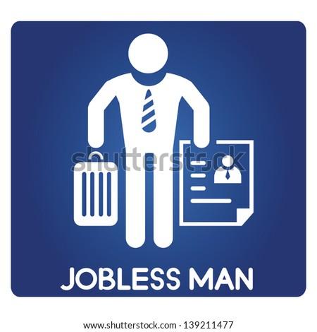 jobless man, unemployed - stock vector