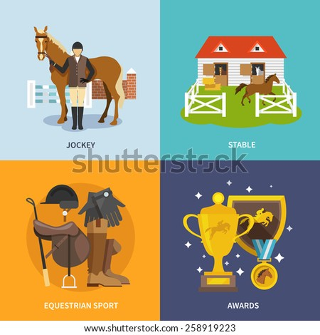 Jockey design concept set with stable equestrian sport awards flat icons isolated vector illustration - stock vector