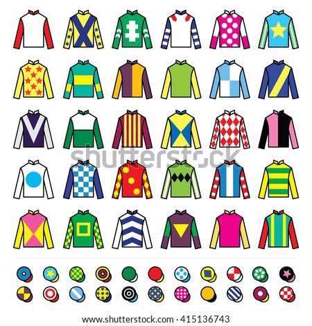 Jockey uniform - jackets, silks and hats, horse riding icons set  - stock vector
