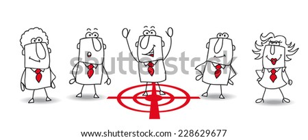 Joe is the target. the human resources director chooses Joe, because he is the best manager of the team  - stock vector