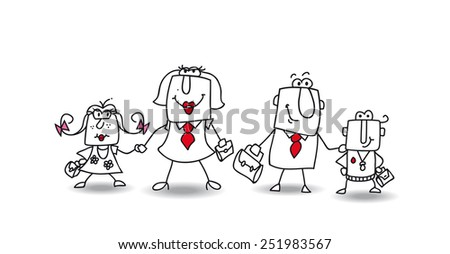 Joe's Family. We are the ideal family. It's time to go to school for the children and go to the office for the parents. - stock vector