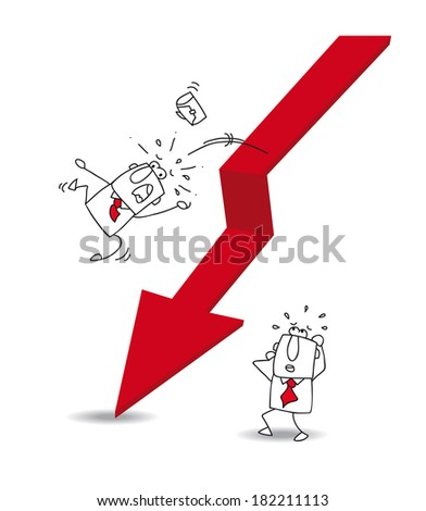 Joe the businessman is falling off the red arrow. It's a metaphor of the economic crisis - stock vector