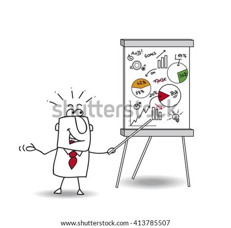 Joe with a flip chart. He analyzes data - stock vector
