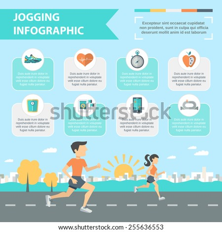 Jogging and running infographics set with people running outdoor vector illustration - stock vector