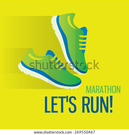Jogging and running marathon concept flat icon with sneakers and text. Modern icon illustrations in flat style - stock vector