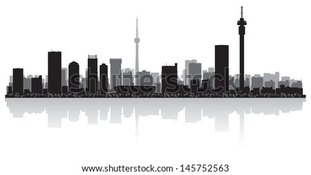 Johannesburg city skyline silhouette vector illustration - stock vector