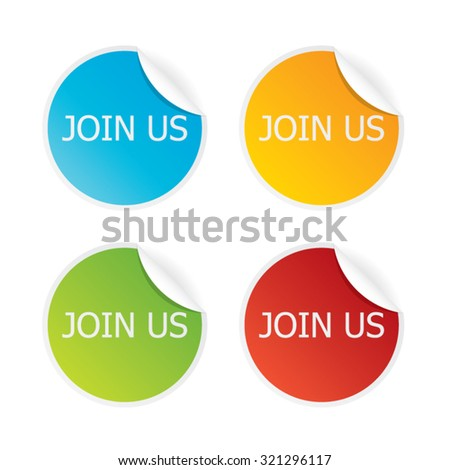 Join Us Sticker Labels - stock vector