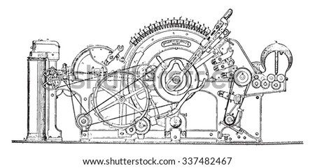 Joint Framework for cotton with automatic removal, vintage engraved illustration. Industrial encyclopedia E.-O. Lami - 1875. - stock vector