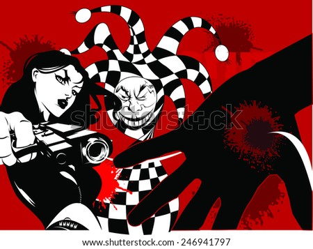 Joker game card with the image of the red and red joker, vector - stock vector