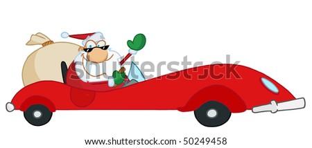 Jolly Christmas Santa Waving And Driving His Red Sports Car - stock vector