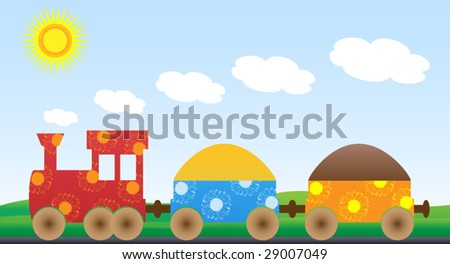 Jolly freight train with two wagons, designed by sunflowers on surface, going through sunlit countryside - stock vector