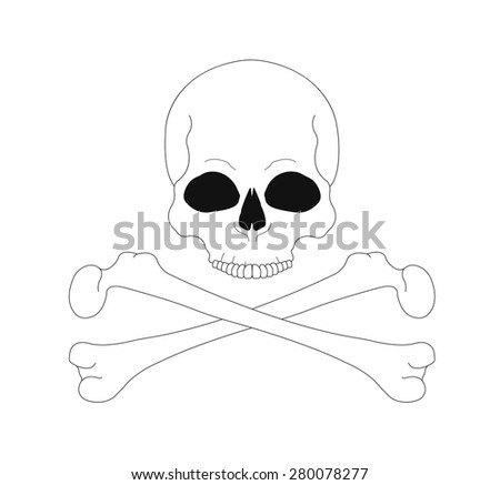 Jolly Roger. Contour lines skull with crossbones. Vector line art illustrations isolated on white - stock vector
