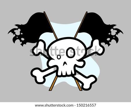 Jolly Roger Crossed Flag - Vector Cartoon Illustration - stock vector