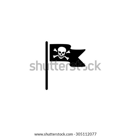 Jolly Roger or Skull and Cross bones Pirate flag. Black simple vector icon - stock vector