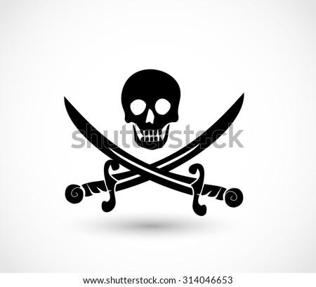 Jolly roger pirate icon vector - stock vector