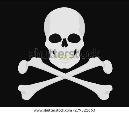 Jolly Roger. Skull with crossbones. Vector clip art illustrations isolated on black  - stock vector