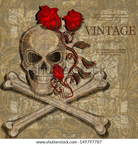 Jolly Roger vintage background  - stock vector