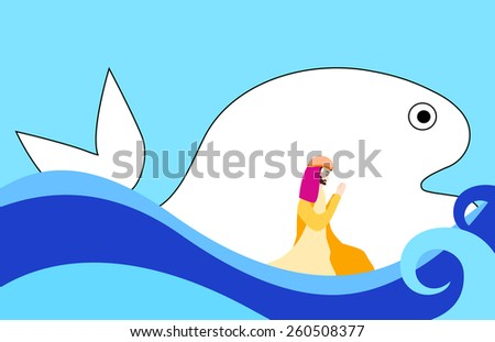 Jonah and the Big Fish- Bible story  - stock vector