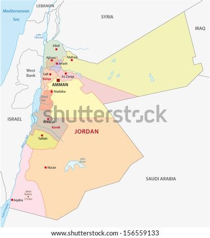 jordan administrative map - stock vector