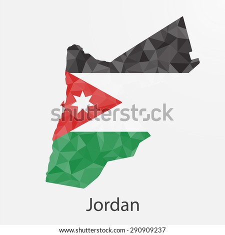 Jordan flag map in geometric,mosaic polygonal style.Abstract tessellation,background. Vector illustration EPS10 - stock vector