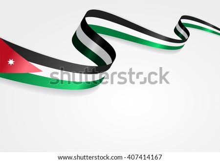 Jordan flag wavy abstract background. Vector illustration. - stock vector