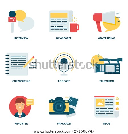 Journalism and mass media vector icons set modern flat style - stock vector