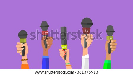 Journalism concept . Set of hands holding microphones. Press hands flat hand. Microphone. Hands holding microphones. Journalist. Microphone vector. Set of microphones Isolated. Hand with microphone. - stock vector